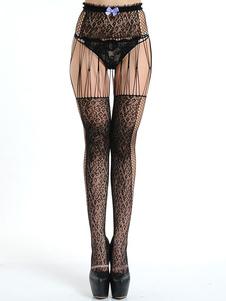 Image of Collant nero con inserto trasparente e fiocco