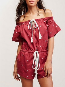 red-off-the-shoulder-lace-up-romper-summer-fashion