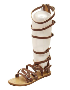 gladiator-sandals-zipper-solid-color-flat-sandals