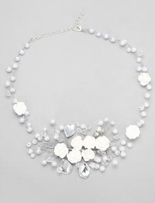 Blanco forma collar perlas Rhinestone collar nupcial de la boda