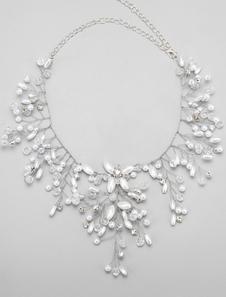 Aleación\, collar del Rhinestone perlas decoración collar nupcial de la boda