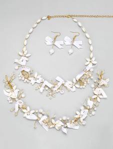 Boda joyería conjuntos cinta arco diamantes de imitación perlas joyería nupcial de oro juegos