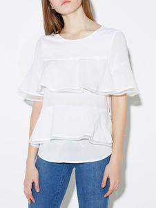 Blusa blanca de manga corta camiseta con volantes para mujeres