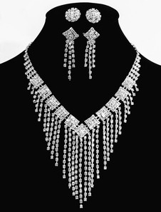 Aleación de boda joyería conjuntos de plata joyería nupcial con zarcillos