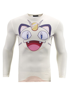 Camiseta blanca de Pokemon Meowth carácter impresión manga larga Halloween
