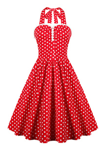 red-polka-dot-straps-buttons-vintage-dress-with-full-skirt