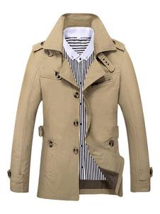 Abrigo de hombre de algodón 2018 caqui cuello vuelto manga larga 3 botone