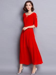 Image of Nero/rosso Maxi abito mezze maniche abito lungo in Chiffon