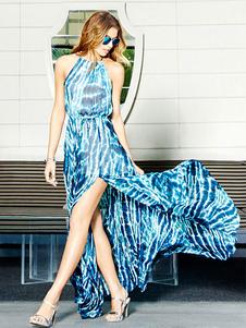 Image of Abito blu alto spacco senza maniche-vestito lungo stampato