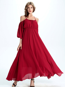 red-maxi-dress-cold-shoulder-chiffon-long-party-dress
