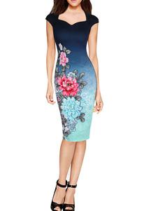 Image of Profondo blu Ombre Cap manica matita vestito innamorato Bodycon stampa floreale