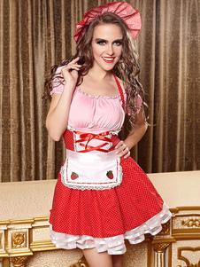 red-maid-costume-women-backless-ruffles-polka-dot-dress
