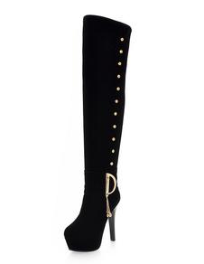 Black Suede Boots Plataforma de la Mujer Round Toe Chains Detalles Over Knee Boots