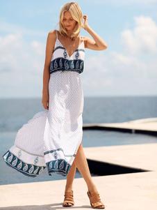 Image of Bianco estate abiti da con scollo a v senza schienale stampato lungo sottoveste donna
