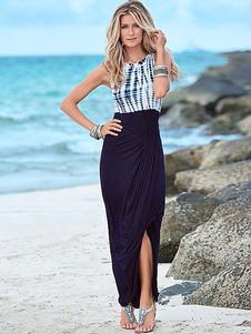 Image of Abito lungo stampa Split bohemien Maxi abito femminile bicolore
