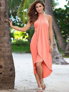 Image of Abiti estivi Rosa abbigliamento donna senza maniche a pieghe alto basso Long Beach