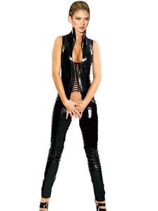 Image of Nero collo alto Crotchless Criss-cross Cut-out Pole PU Sexy Club tuta donna Dancing Abbigliamento