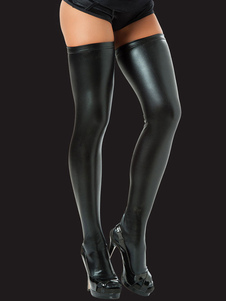 Image of Calze nere sexy da donna in pelle PU 2019