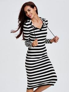 Image of Bodycon abiti a righe manica lunga guaina lunga abiti da donna con cappuccio