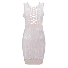 Image of Cerniera Cut-out Lace-up abito sexy pizzo abito femminile Bodycon
