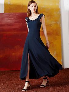 Image of Abito lungo donna Ruffle Lace-up scollato drappeggiato abito Maxi