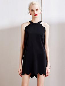 Image of Halter cerniera Shift Dress Mini abito nero donna