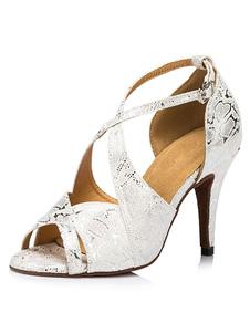 Image of Donna argento Criss-cross Peep tacchi alti scarpe scarpe da ball