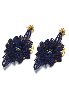 Azul real apliques pendiente perla tachonada de joyería de la boda nupcial (8 Cm X 3 Cm X 1 Cm)