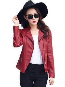 Veste aviateur femmeSimili cuir veste manches longues à capuche col Turndown Moto blouson femme