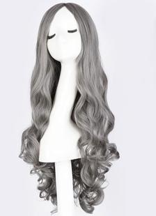 Image of Parrucche lunghe ricci luce grigio centro femminile troncatura parrucche di capelli sintetici