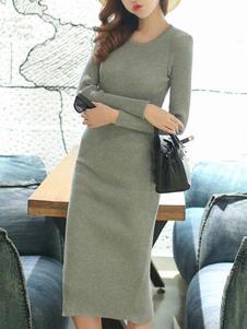 Image of Abiti sexy Bodycon manica lunga abiti Split cotone maglione