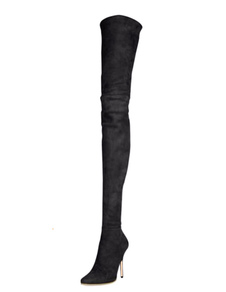 Women's Over Knee Boots Sheepskin Suede High Heel Pointed Stiletto Thigh High Boots picture