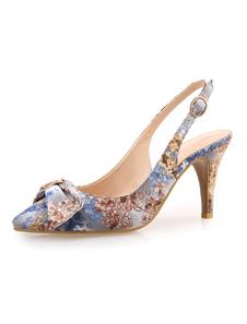 Chaussures de soirée féminine fait haut talon sandales à la main Floral Print talon aiguille