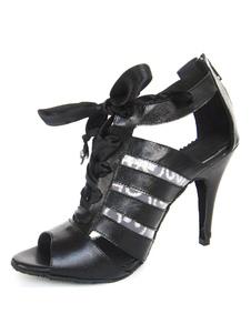 """Danse de salon chaussures Peep noir lacets dos zippé à capuche femme """"talons aiguilles"""