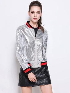 black-silver-jacket-color-block-pattern-women-varsity-jacket