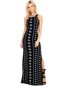 Image of Coscia Split Abito Maxi Dress Nero cinghie serbatoio stampa geometrica