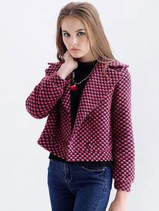 rose-red-jacket-women-polka-dot-high-waist-short-coat