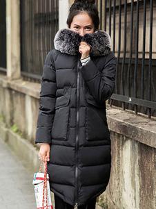 black-winter-coat-faux-fur-collar-pemplum-women-hooded-quilted-coat