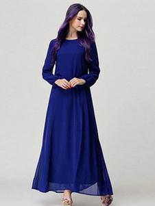 Image of Maxi abito blu manica lunga oversize lungo abito di Chiffon donna con Fascia