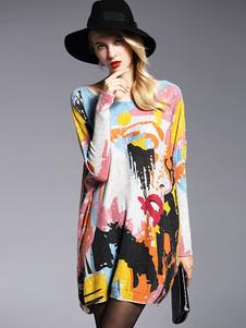 Image of Abiti maglione da donna manica lunga multi-colore maglia oversize in cotone