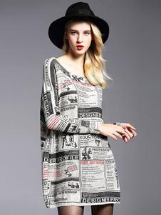 Image of Abito in maglia maglione oversize Abito cotone maniche lunghe lettere stampate per le donne