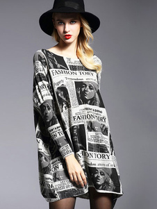 Algodón manga larga Letras Sweater negro vestido de mujer impresas Vestido punto