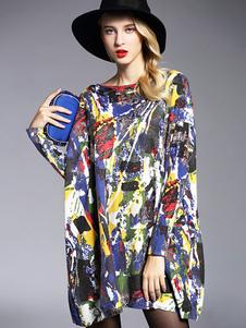 Image of Abiti maglione di cotone oversize stampa floreale in cotone maglia abiti da donna