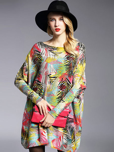 Image of Abiti maglione giallo stampa floreale in cotone maglione maglia Oversize femminile
