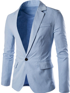 Americanas blazer casual hombre 2018 manga larga chaqueta de primavera cuello vuelto azul ligero