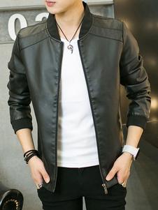 Image of Giacca bomber da uomo 2019 in pelle nera con cerniera slim fit