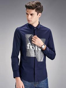 Image of Camicia bianca maniche lunghe uomo stampato camicia Casual Slim Fit