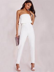 Women White Jumpsuit Strapless Sleeveless Ruffled Backless Long Jumpsuit thumbnail