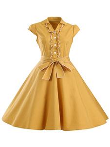 Image of Con scollo a v manica corta giallo abiti da donna archi Abiti Casual Flare