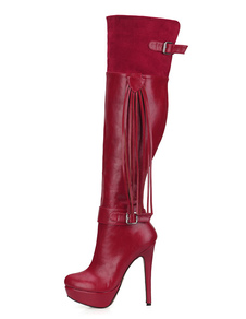 Image of Women's Red Wide Fit Boots Platform High Heel Over the Knee Boot
